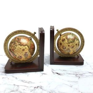 Vintage Cost Plus World Spinning Globe Book Ends